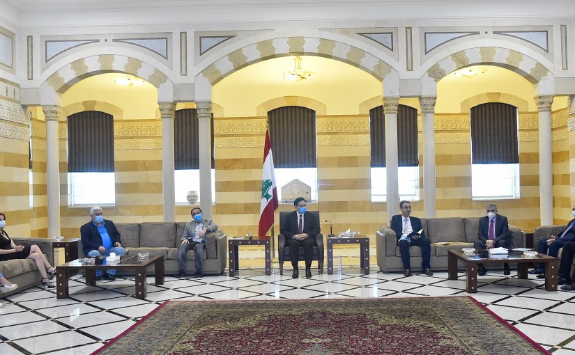 Pr Minister Hassan Diab meets Minister Talal Hawat with a Delegation