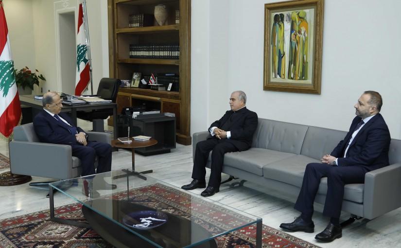 President Michel Aoun Meets Father Abou Abou Kasem & Mr Khalil Harfouch