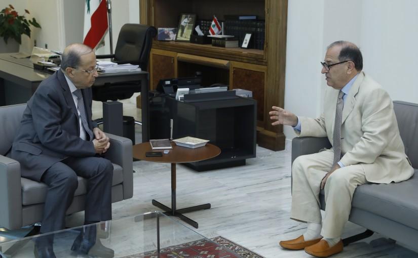 President Michel Aoun Meets Former Minister Karim Pakradouni