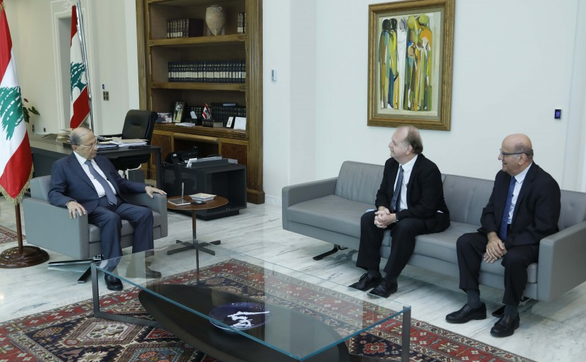 President Michel Aoun Meets Regional Director of AUF (Agence Universitaire de la Francophonie) Dr Herve Sabourin & His Personal Representative to the International Francophonie Organization Dr Jarjoura Hardan