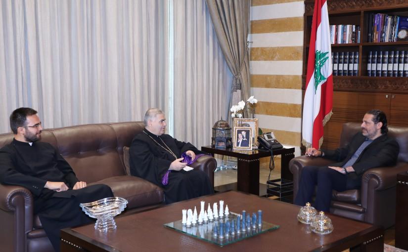 Former Pr Minister Saad Hariri meets Bishop George Assadourian with a Delegation