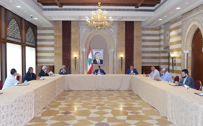 Former Pr Minister Saad Hariri meets a Delegation from Naehme Municipality