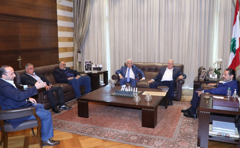 Former Pr Minister Saad Hariri meets a Delegation from Fruits Syndicate