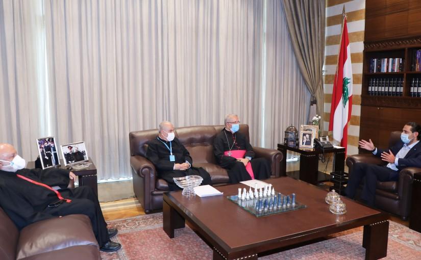 Former Pr Minister Saad Hariri meets Bishop Maroun Amar with a Delegation