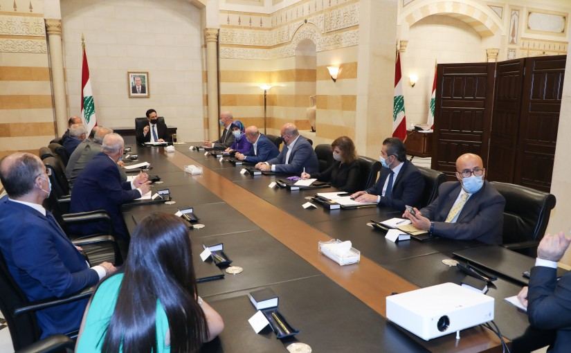 Pr Minister Hassan Diab meets Minister Hassan Hamad with a Delegation