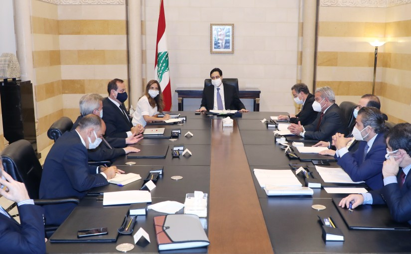 Pr Minister Hassan Diab meets Mr Riyad Salameh with a Delegation