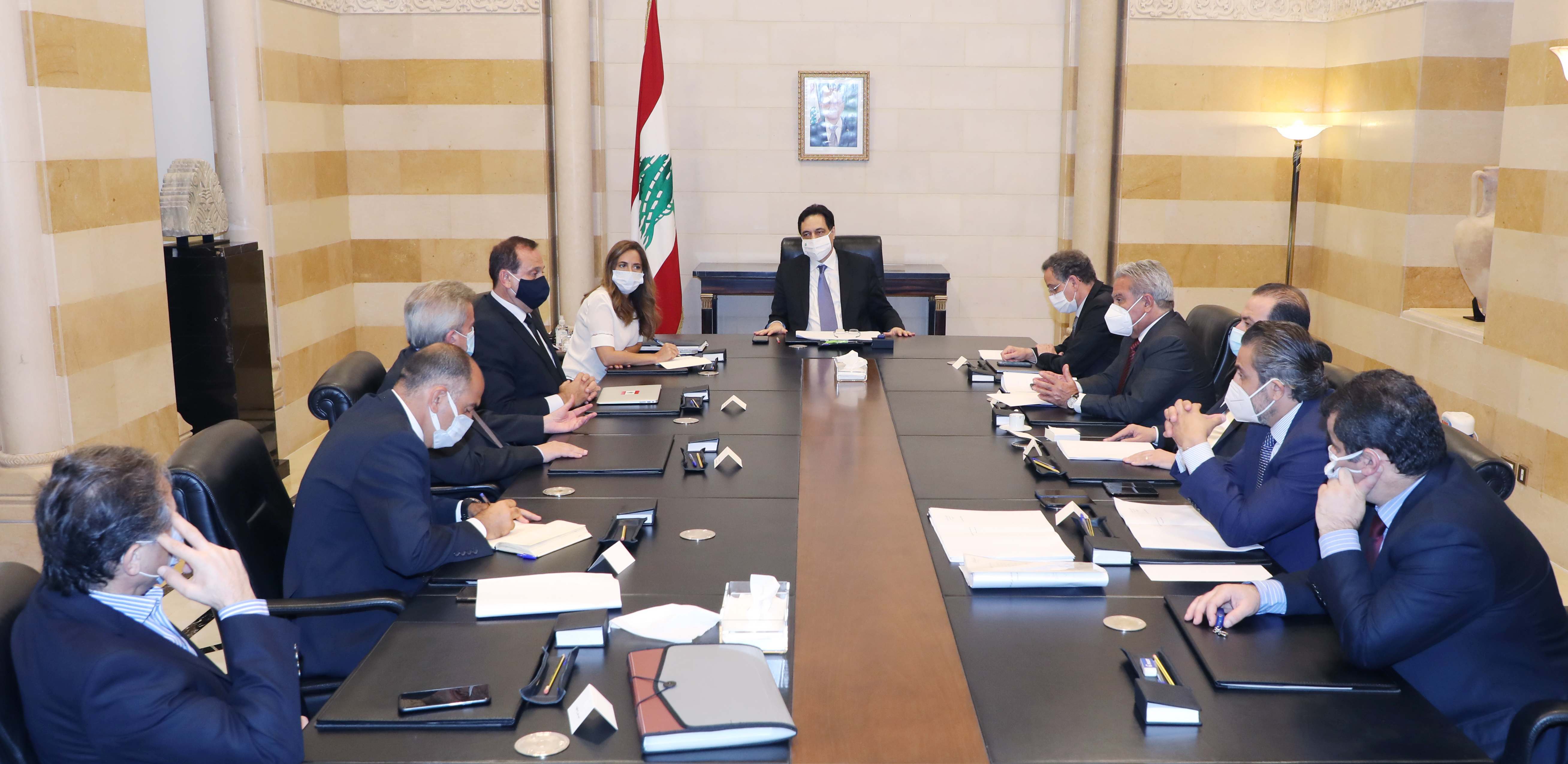 Pr Minister Hassan Diab Meets Mr Riad Salameh with a Delegation
