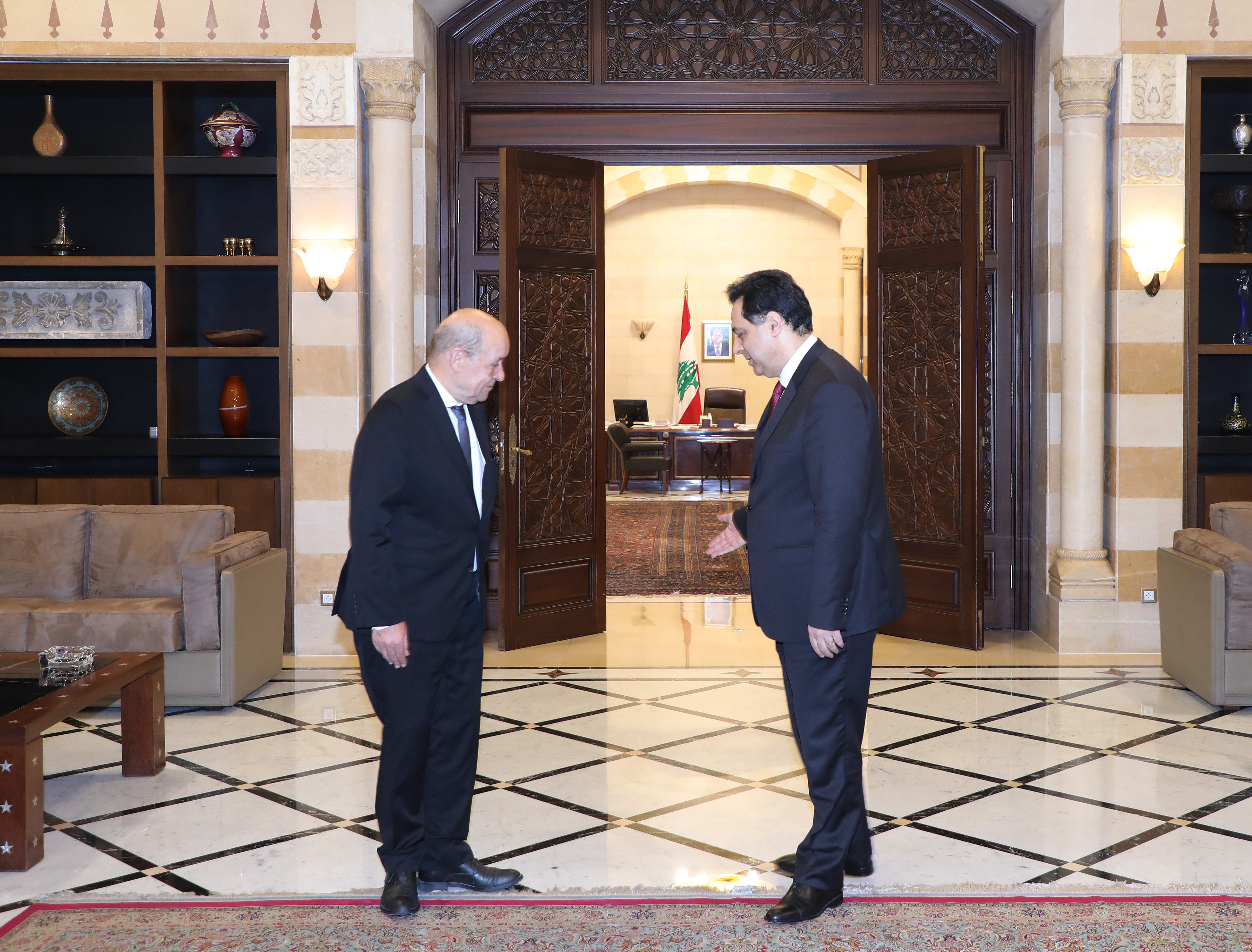 Pr Minister Hassan Diab meets French Minister of Foreign Affairs