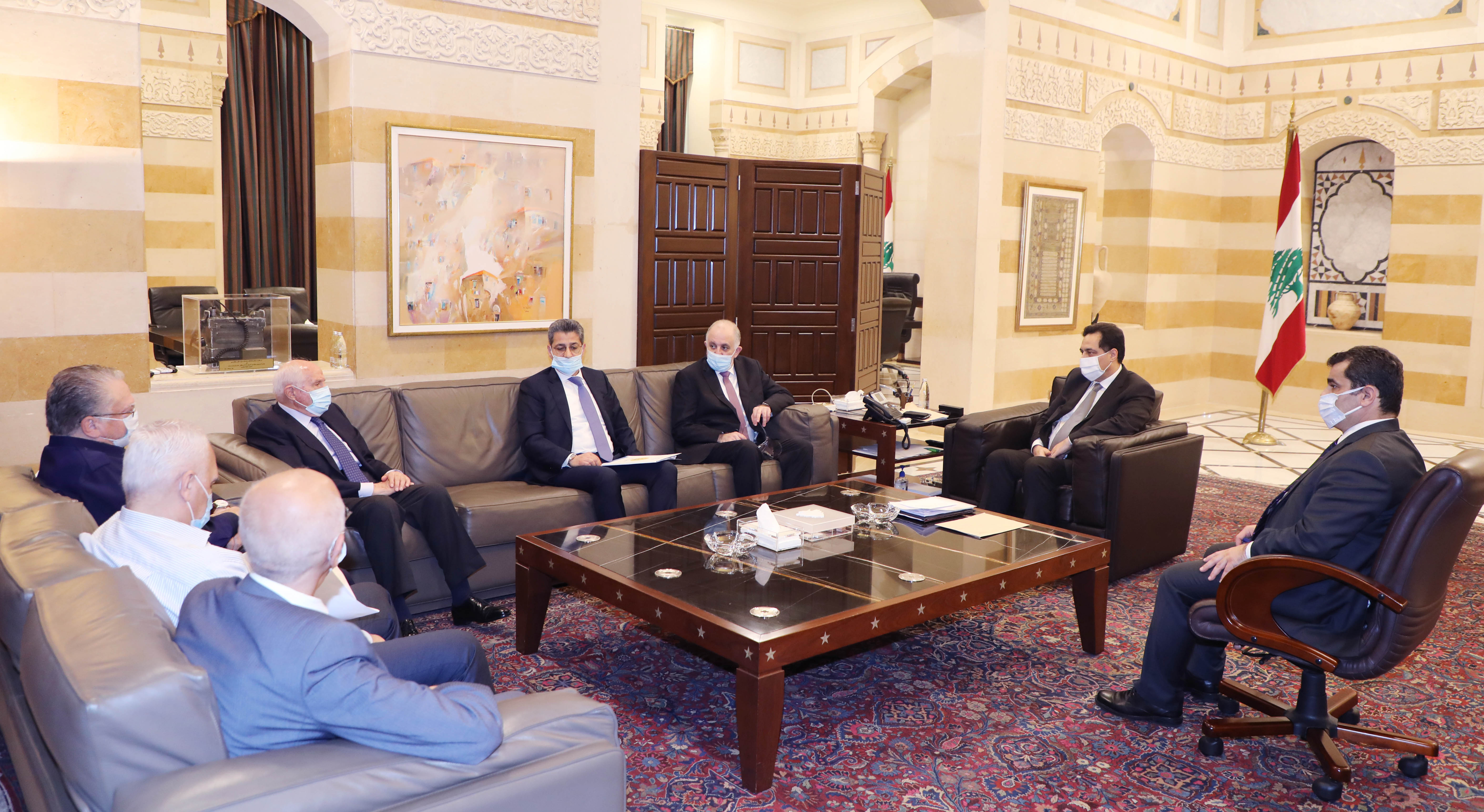 Pr Minister Hassan Diab meets Minister Ahmad Fehmi with a Delegation