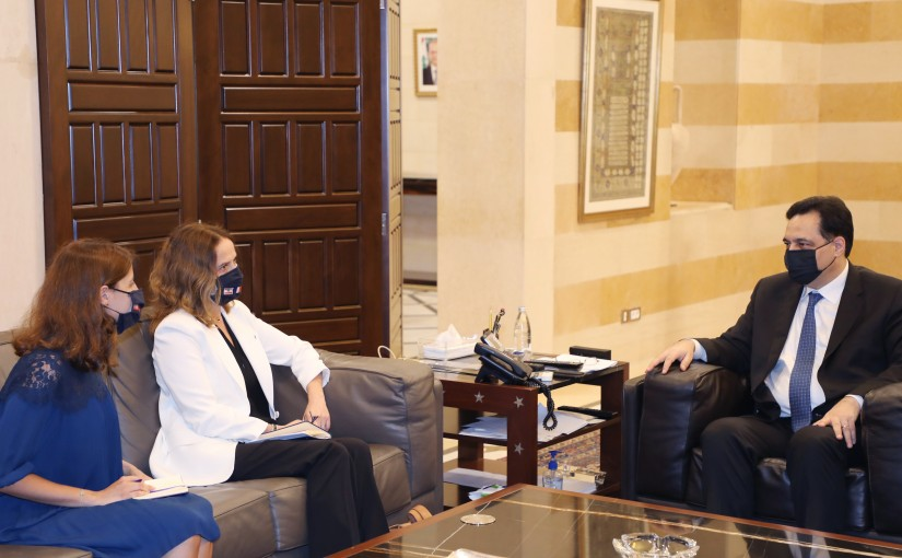 Pr Minister Hassan Diab meets a French Delelgation