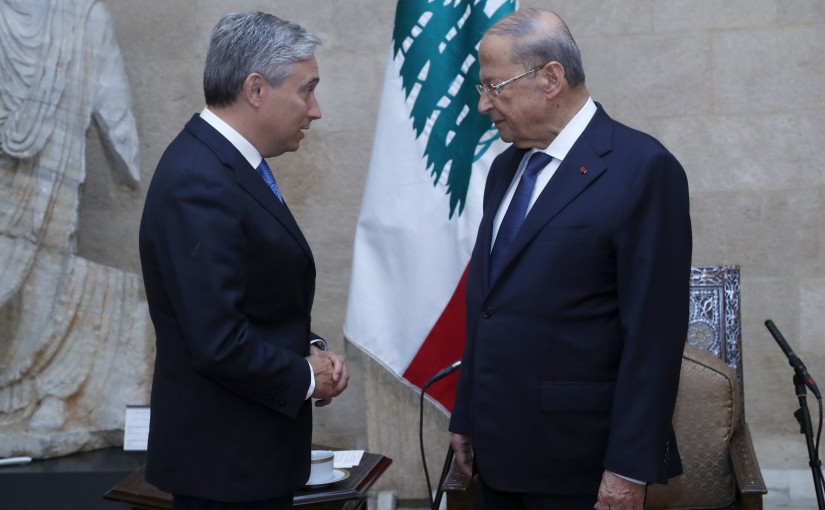 President Michel Aoun meets Canadian Minister of Foreign Affairs François-Philippe Champagne.
