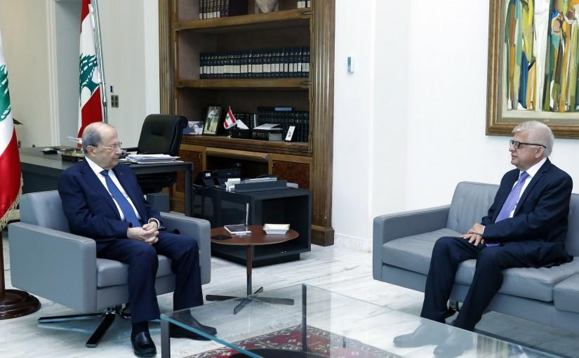 President Michel Aoun meets Russian Ambassador Alexander Zasypkin.