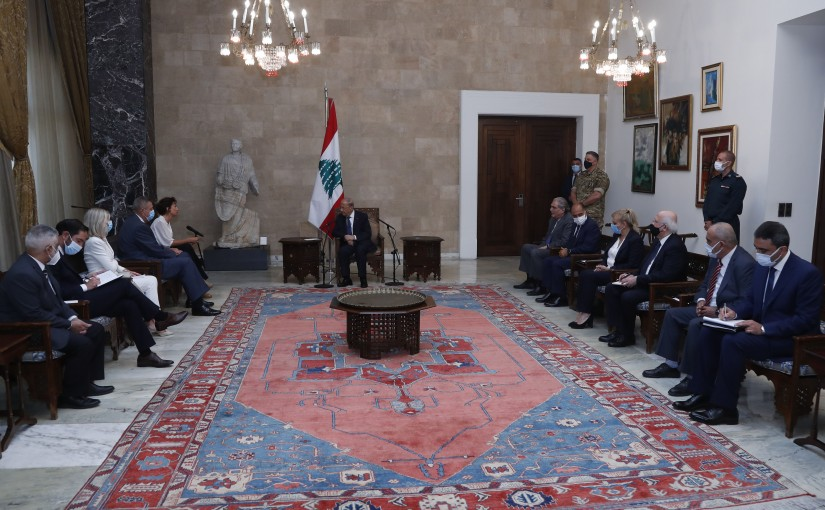 President Michel Aoun meets Mme Audrey Azoulay Director-General of UNESCO with a delegation.