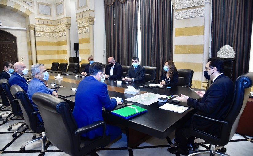 Pr Minister Hassan Diab meets MP Nicolas Sehnaoui with a Delegation
