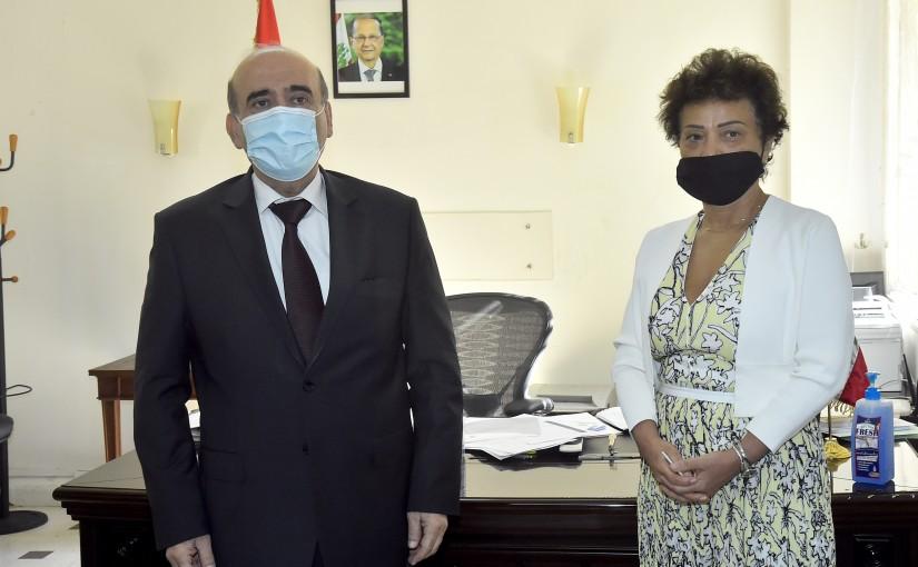 Minister Charbel Wehbeh meets Mrs Najat Rochdi