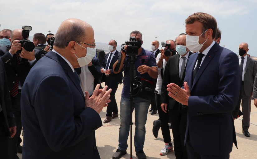President Michel Aoun Receiving French President Emmanuel Marcron at The Airport
