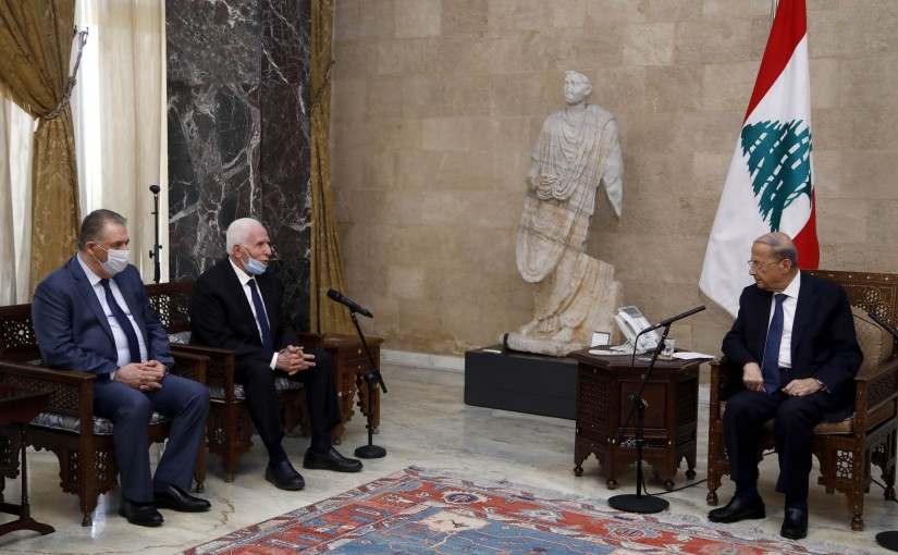 President Michel Aoun Meets Mr Azzam Al Ahmad with a Palestinian Delegation
