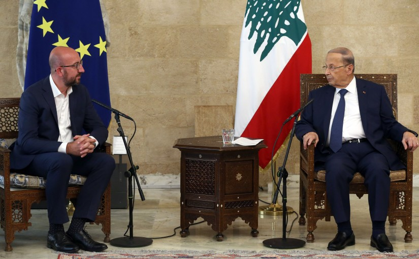 President Michel Aoun Meets President of the European Council Charles Michel