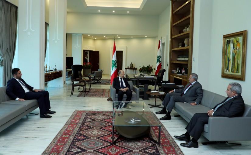 President Michel Aoun meets MP Tallal Erslan with a Delegation