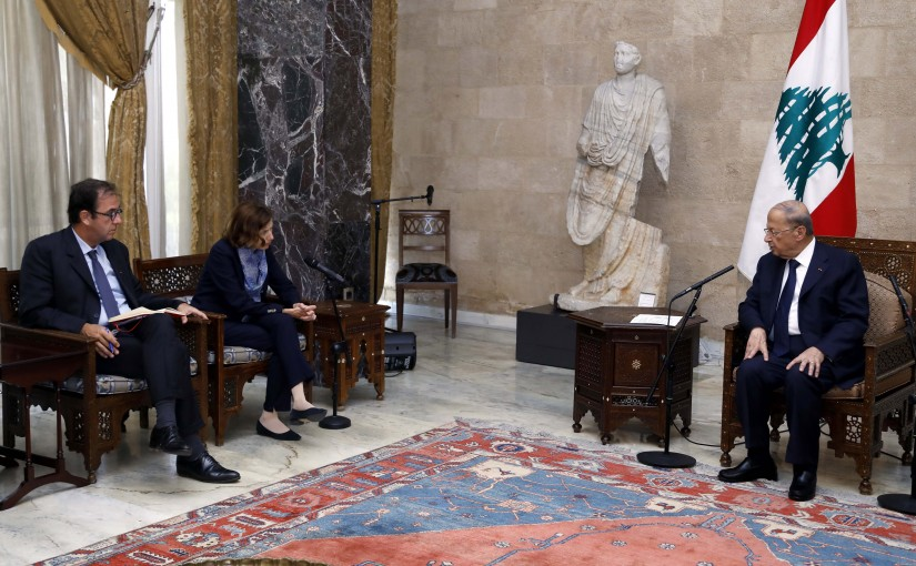 President Michel Aoun Meets French Minister of Defense Florence Party