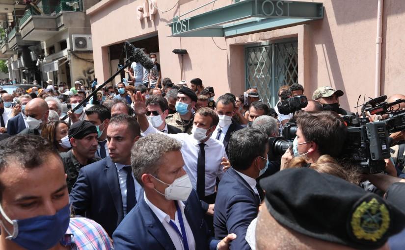French President Emmanuel Macron Tours at Gemayzeh Region