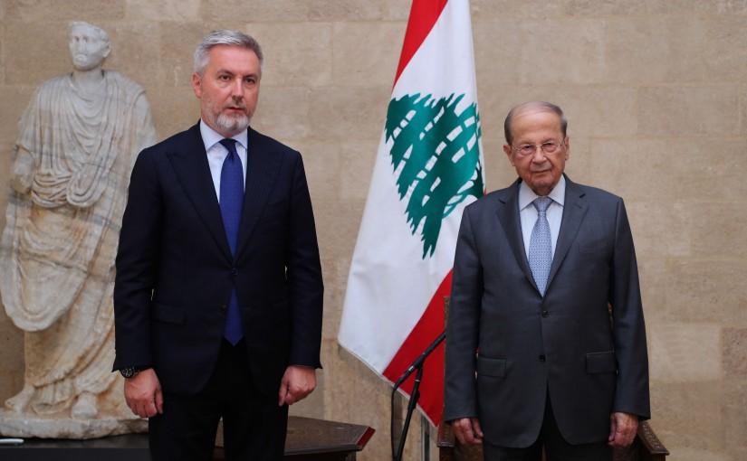 President Michel Aoun Meets Italian Minister of Defense Lorenzo Guerini