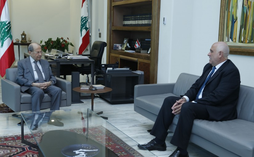 President Michel Aoun Meets Minister of Industry Imad Habballah