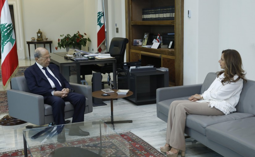 President Michel Aoun Meets Minister of Defense Zeina Akar
