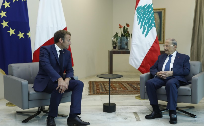 President Michel Aoun Receiving French President Emmanuel Macron at Baabda Palace