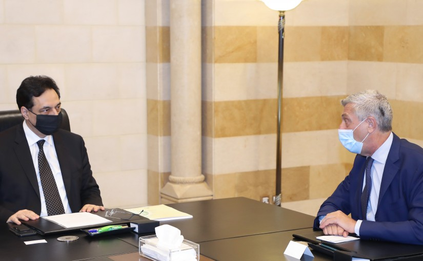 Pr Minister Hassan Diab meets Commissioner of the United Nations High Commissioner for Refugees Fillipo Grandi