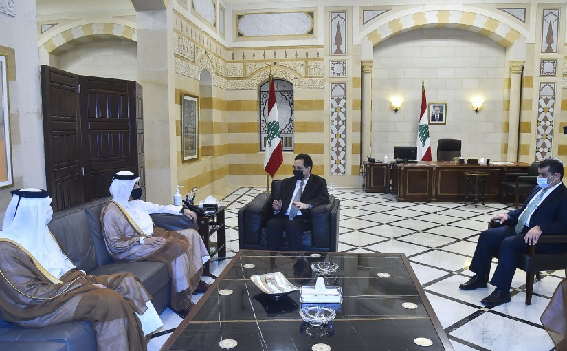 Pr Minister Hassan Diab meets Qatar Minister of Foreign Affairs