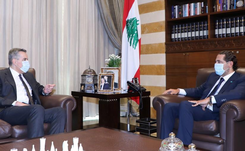 Pr Minister Mostafa Adib meets Former Pr Minister Saad Hariri