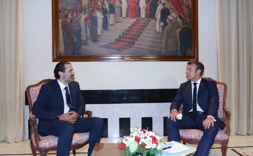Former Pr Minister Saad Hariri meets French President Emanuel Macron