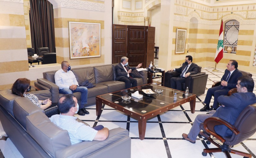 Pr Minister Hassan Diab meets Minister Tallal Hawat with a Delegation