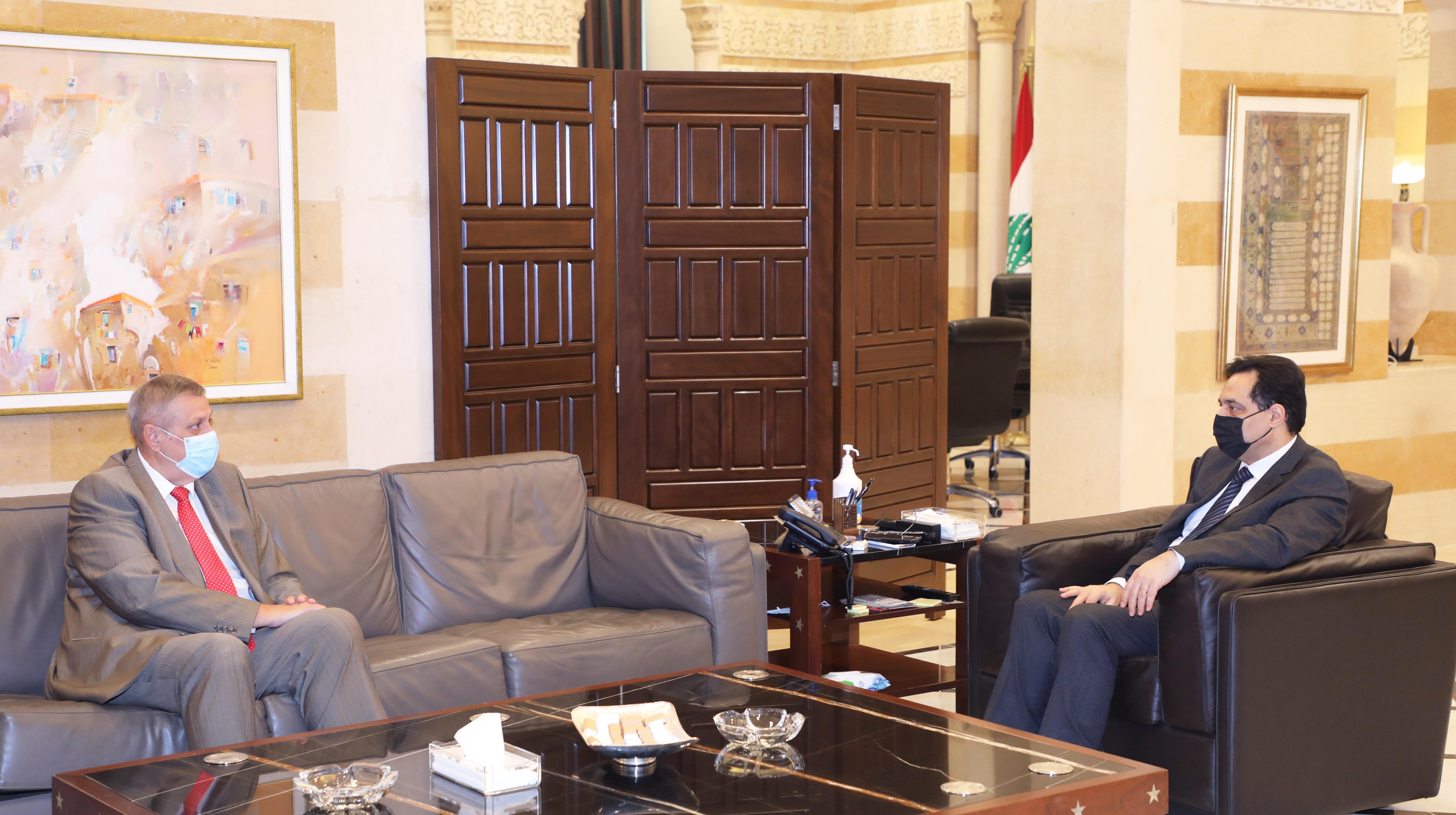Pr Minister Hassan Diab meets Mr Yan Kobish