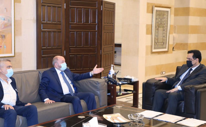 Pr Minister Hassan Diab meets a Delegation from Labour Union