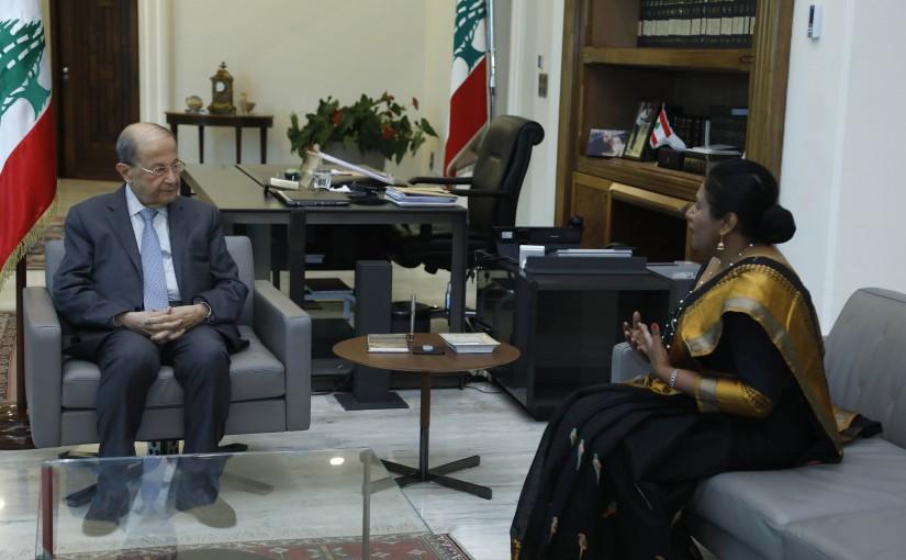 President Michel Aoun Meets Sri Lanka Ambassador