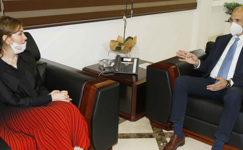 Minister Hassan Hamad meets Former MP Dima Jamaly