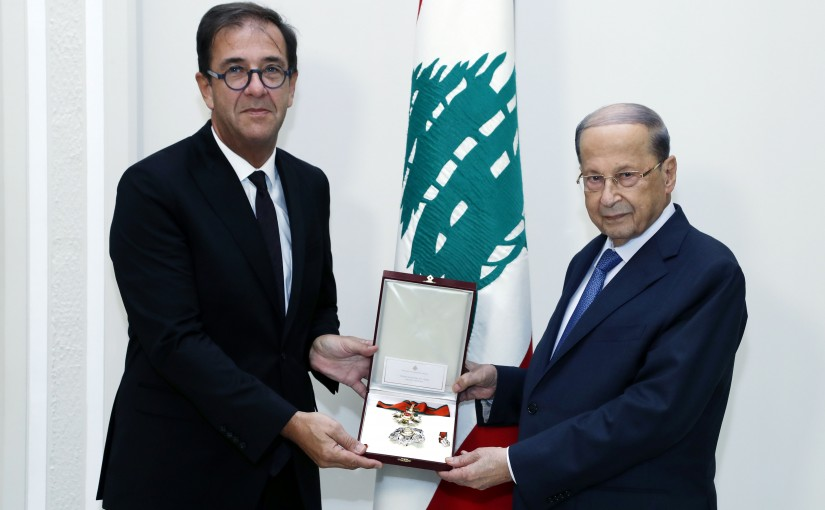 President Michel Aoun meets French Ambassador Bruno Foucher Farewell visit to the occasion of the end of his duty in Lebanon.