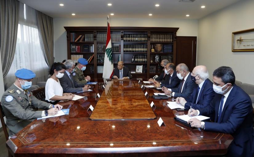 President Michel Aoun meets Major General Stefano Del Col (UNIFIL).