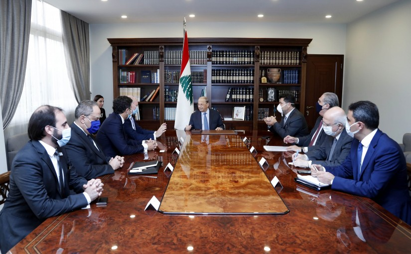 President Michel Aoun meets Minister Raymond Ghajar and German Ambassador Andreas Kindl with a Siemens Delegation.