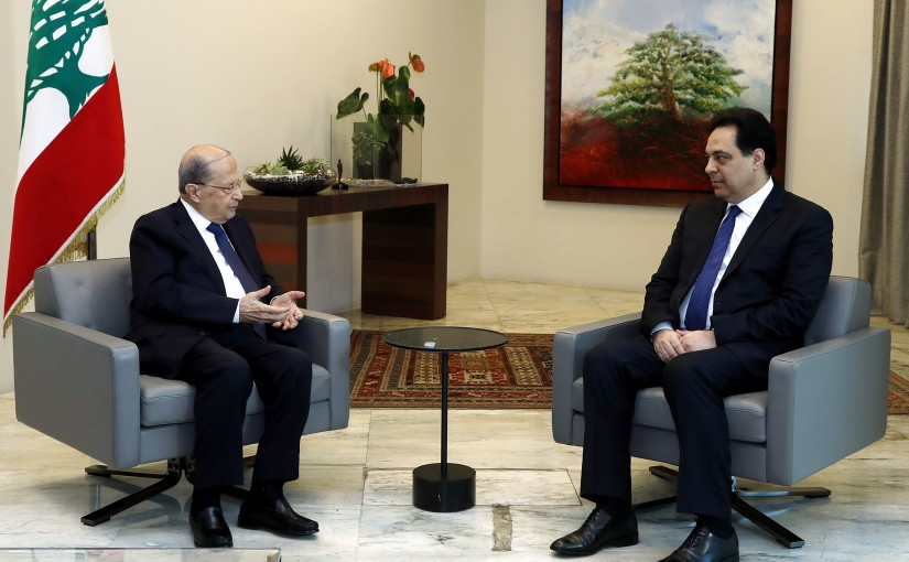 President Michel Aoun chaired meetings attended by the head of the caretaker government, Hassan Diab.