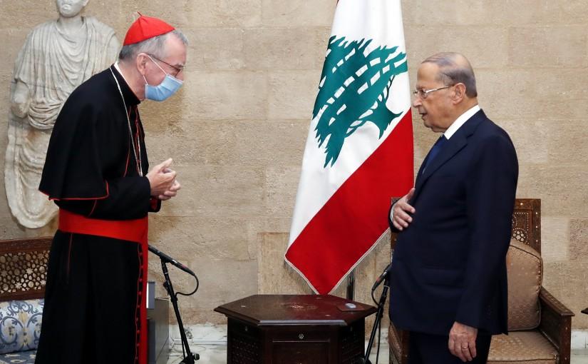 President Michel Aoun meets S. Eminence Cardinal Pietro Parolin.