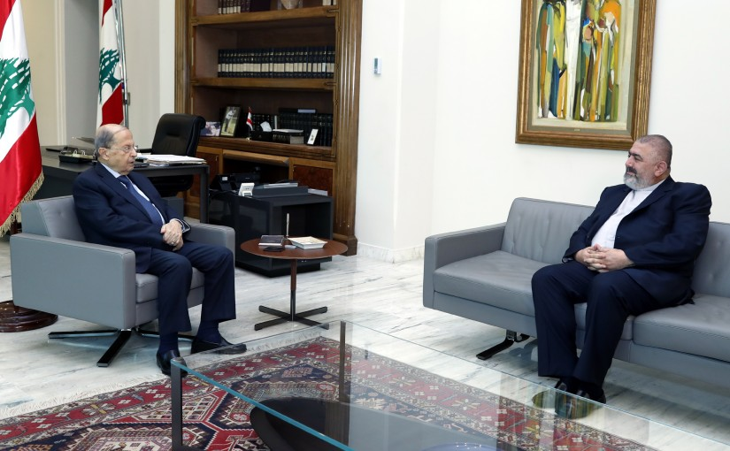 President Michel Aoun meets Father Elie Naser.