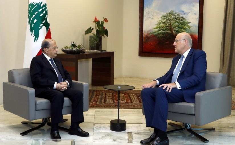 President Michel Aoun meets Former Prime Minister Najib Mikati.