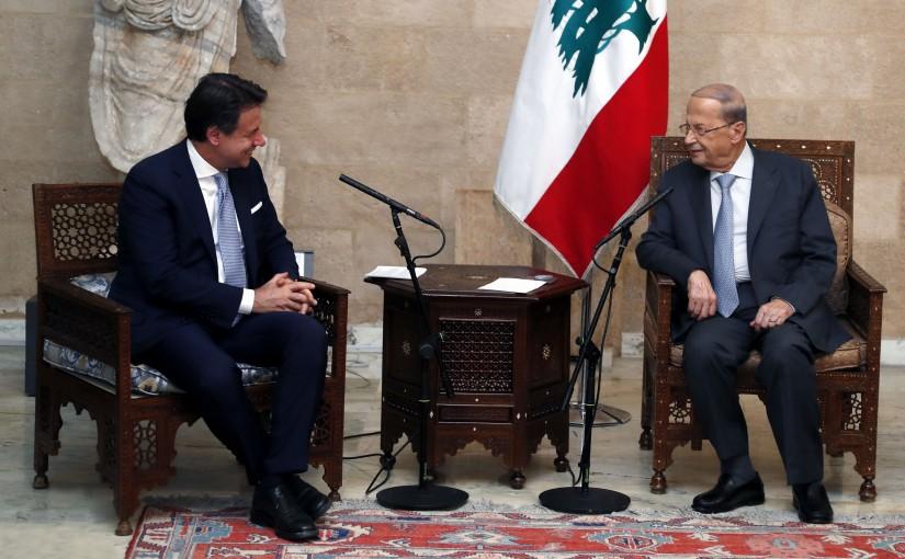 President Michel Aoun meets Italian Prime Minister S.E. Giuseppe Conte.