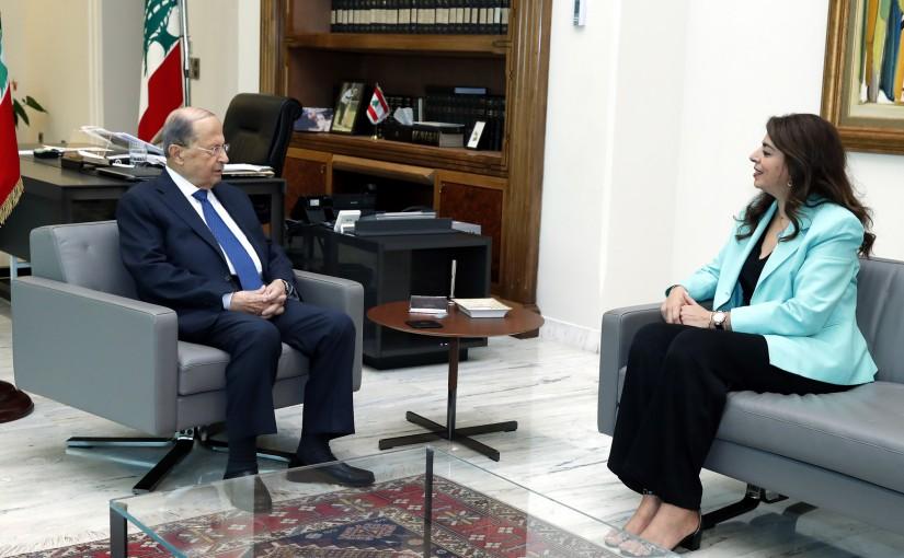 President Michel Aoun meets Minister Ghada Chreim.