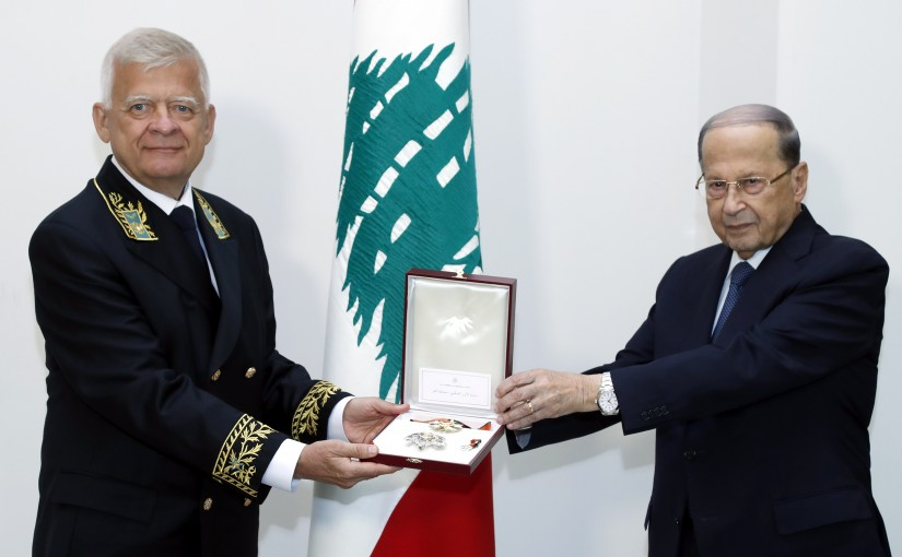 President Michel Aoun meets Russian Ambassador Alexander Zasypkin, Farewell visit to the occasion of the end of his duty in Lebanon.