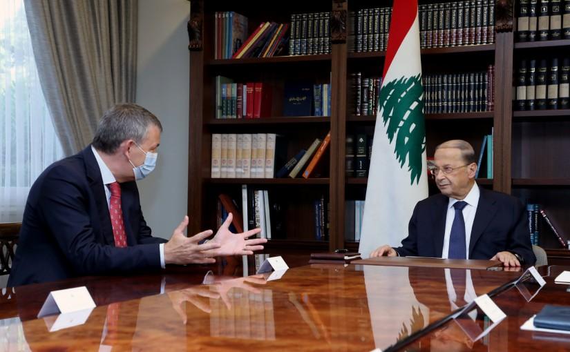 President Michel Aoun meets UN Deputy Special Coordinator for Lebanon, Mr. Philippe Lazarini.
