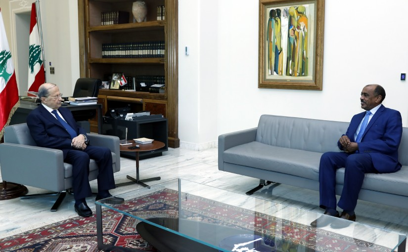 President Michel Aoun meets Amb. Ali Alsadiq Ali.